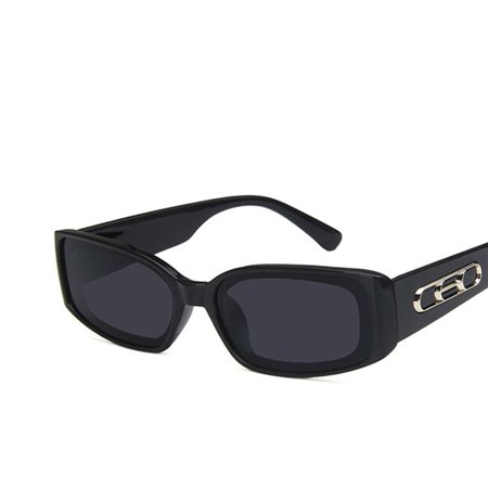 European And American Styles Trends Hd Universal Flat Mirrors Retro Squares Wide Legs Hip Hop Fashion 2185 Sunglasses bright black gray film - image 5 de 8