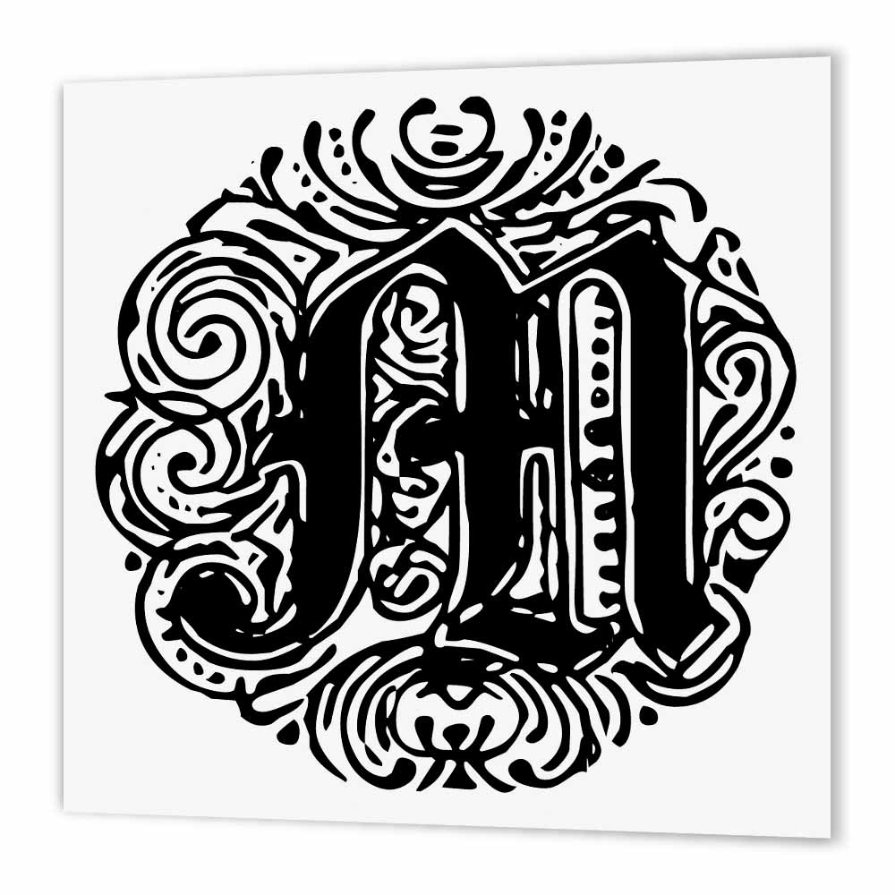 3dRose Fancy Letter M, Iron On Heat Transfer, 6 by 6-inch, For White Material
