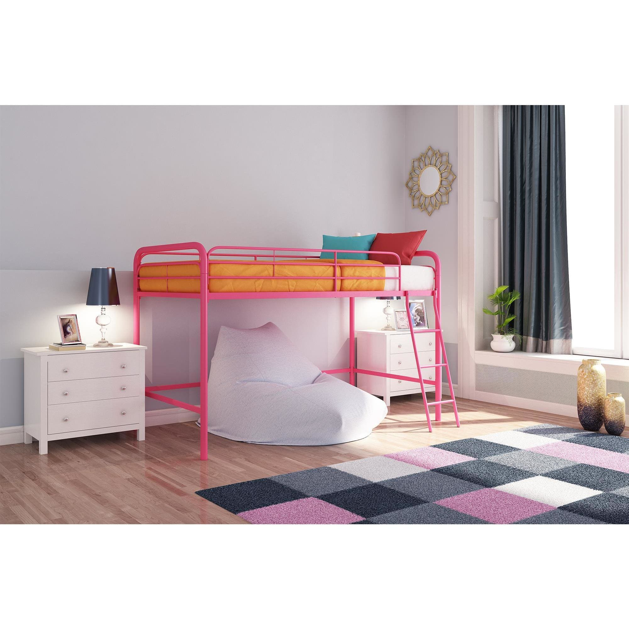 dhp junior metal loft bed twin size multiple colors walmart com