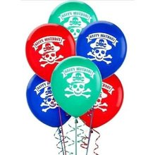 Pirate Party Pack of 6 Latex Helium Quality Balloons (Cost Of Helium)
