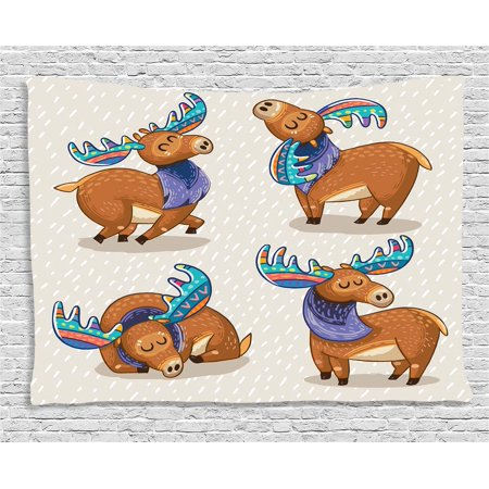 Moose Decor Tapestry, Kids Cartoon Inspired Cute Elks with Embellished Antlers Friendly Nursery Artwork, Wall Hanging for Bedroom Living Room Dorm Decor, 80W X 60L Inches, Multi, by -