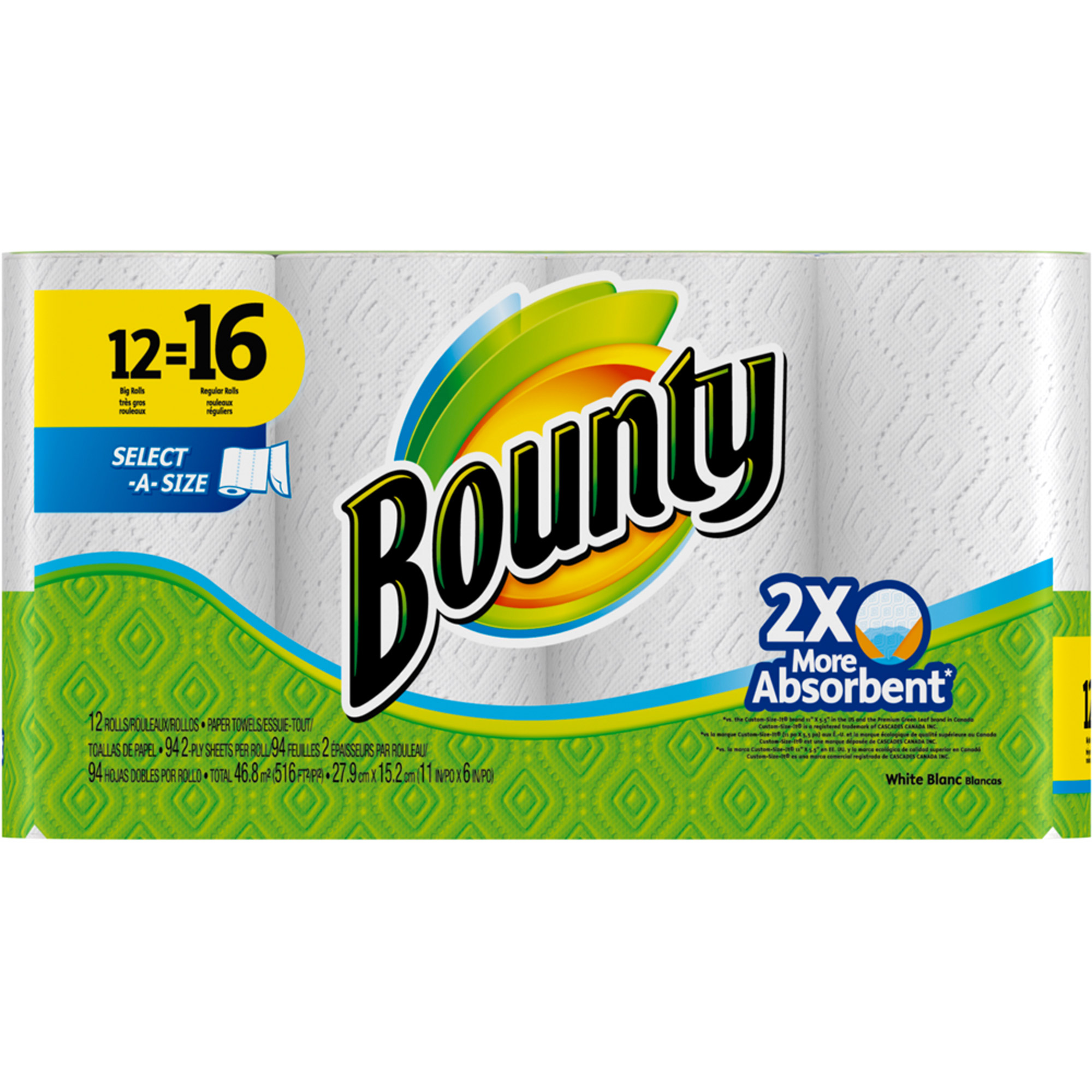 Bounty Select-A-Size Paper Towels, White, 12 Big Rolls
