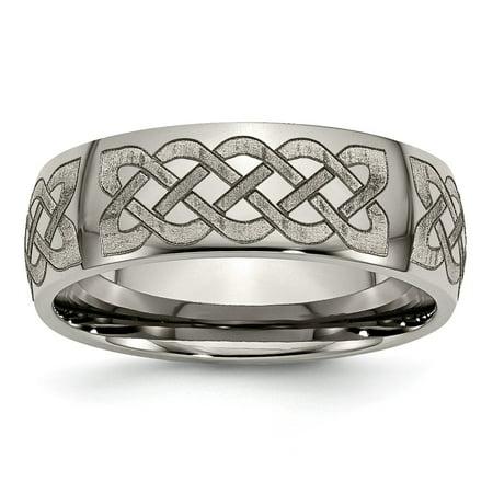 - Titanium 8mm Laser Design Wedding Ring Band Size 8.50 Designed Fashion Jewelry For Women Gift Set
