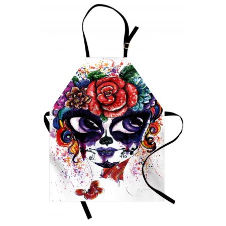 Sugar Skull Apron Watercolor Painting Style Girl Face with Make Up and Floral Crown Big Eyes, Unisex Kitchen Bib Apron with Adjustable Neck for Cooking Baking Gardening, Multicolor, by