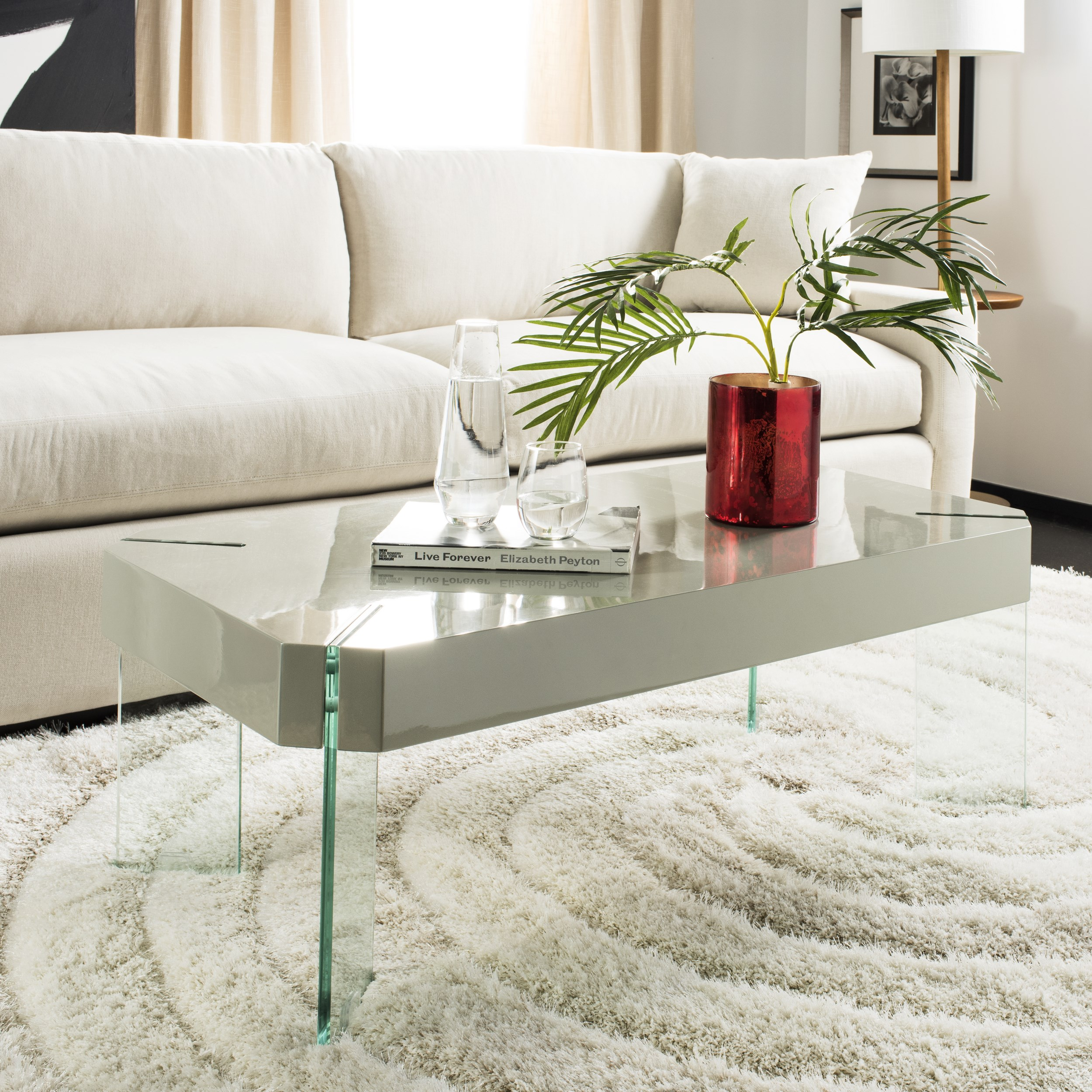 Safavieh Katelyn Rectangular Contemporary Glass Leg Coffee Table, Grey