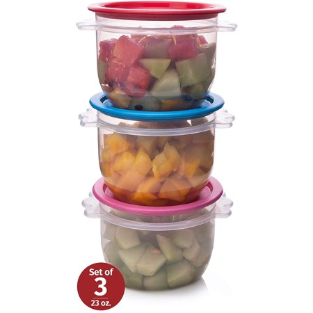 Reusable Plastic Food Storage Containers – Stackable Airtight Clear Bowls with Lids for Cereal, Soups, Snacks, Salads and more – Set of 3 700ml Bowls – Dishwasher, Microwave and Freezer Safe (Soup Containers For Freezer)