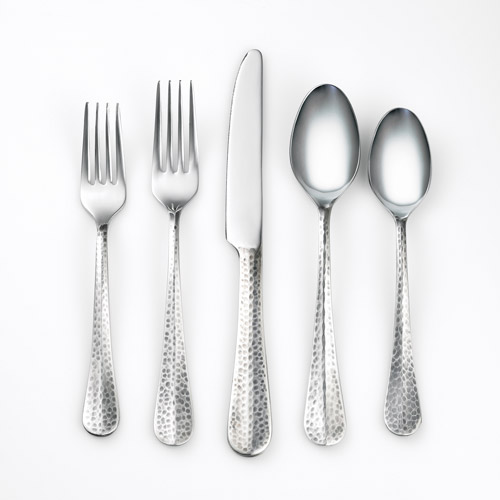 Cambridge Silversmiths Jessamine Hammered Antique Mirror 20-Piece Flatware Set