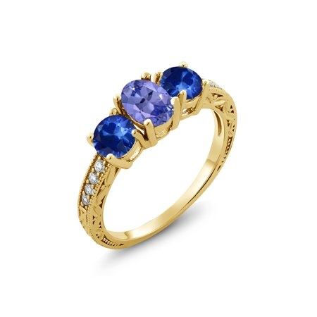 2.07 Ct Oval Blue Tanzanite Blue Sapphire 18K Yellow Gold Plated Silver -