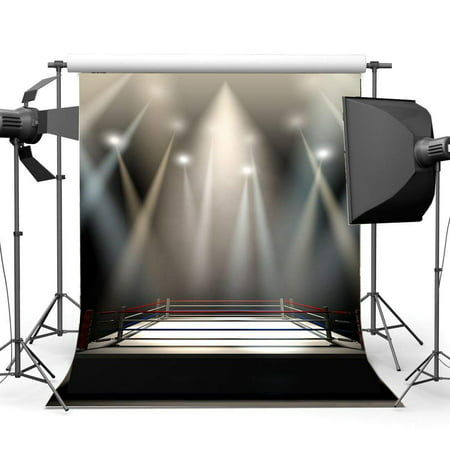 ABPHOTO Polyester 5x7ft Boxing Ring Backdrop Boxing Backdrops Interior Stadium Stage Lights Dark Athletic Sports Gymnasium Photography Background for Sports Activity Competition Photo Studio Props ()