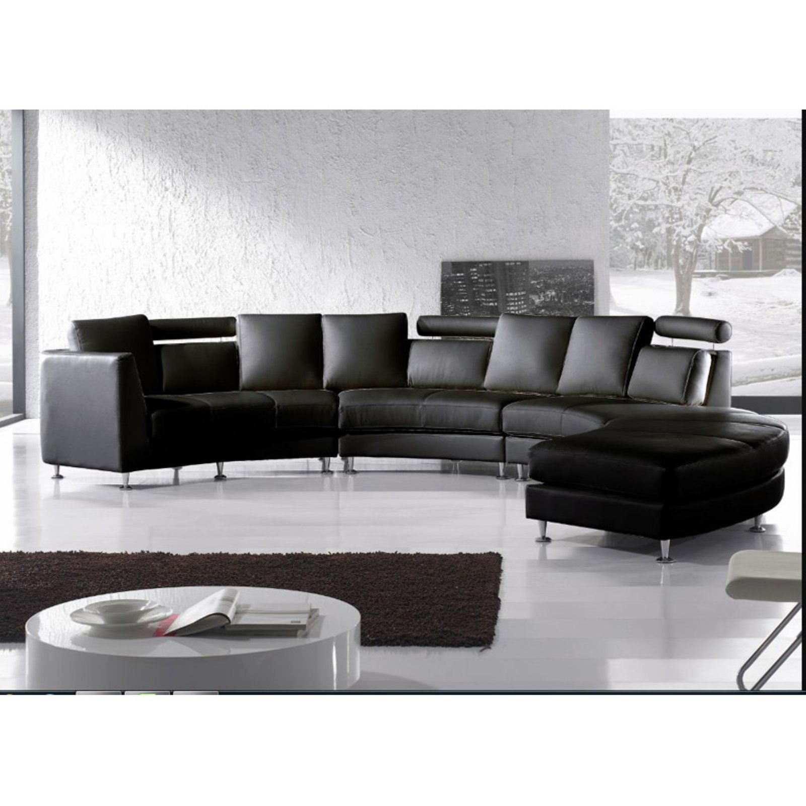 Velago Rotunde Modern Round Leather Sectional Sofa