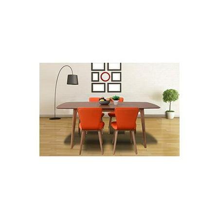 Dalia Mid-Century 5 Piece Living Room Dining Set, Tangerine