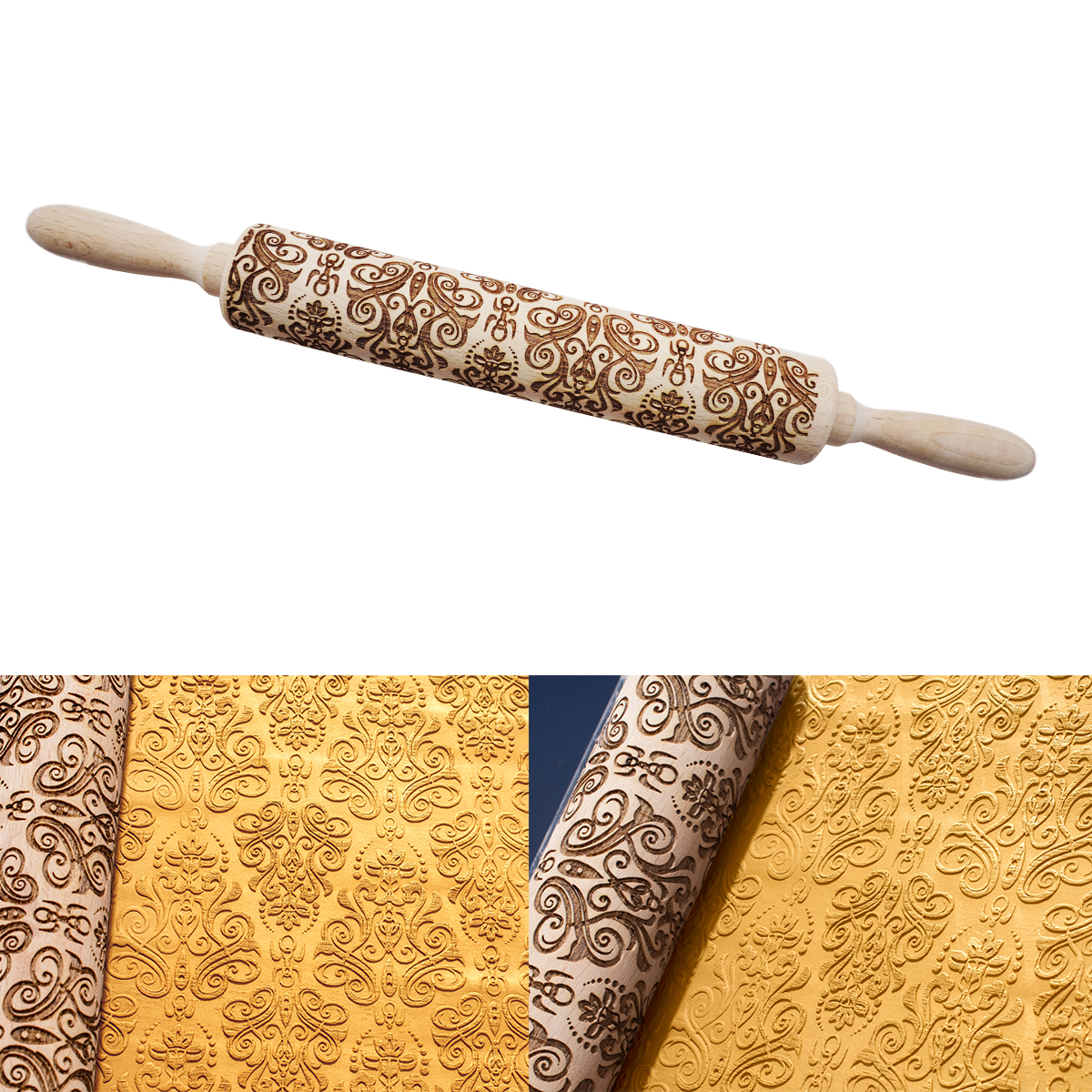 Christmas Rolling Pin Laser Embossing Engraved Dough Roller for DIY Cookies Tool