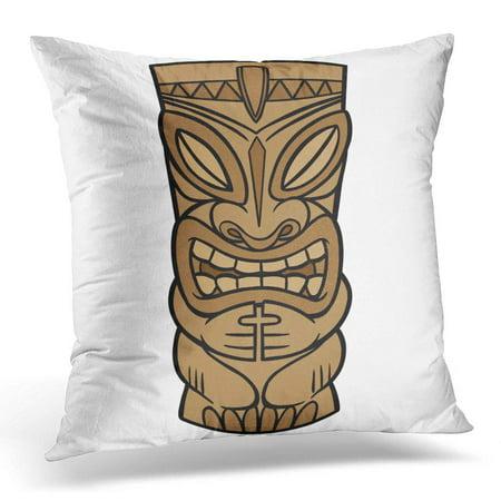ECCOT Brown Totem Tiki Hawaiian Pole Statue Polynesian Carving Pillowcase Pillow Cover Cushion Case 16x16 inch