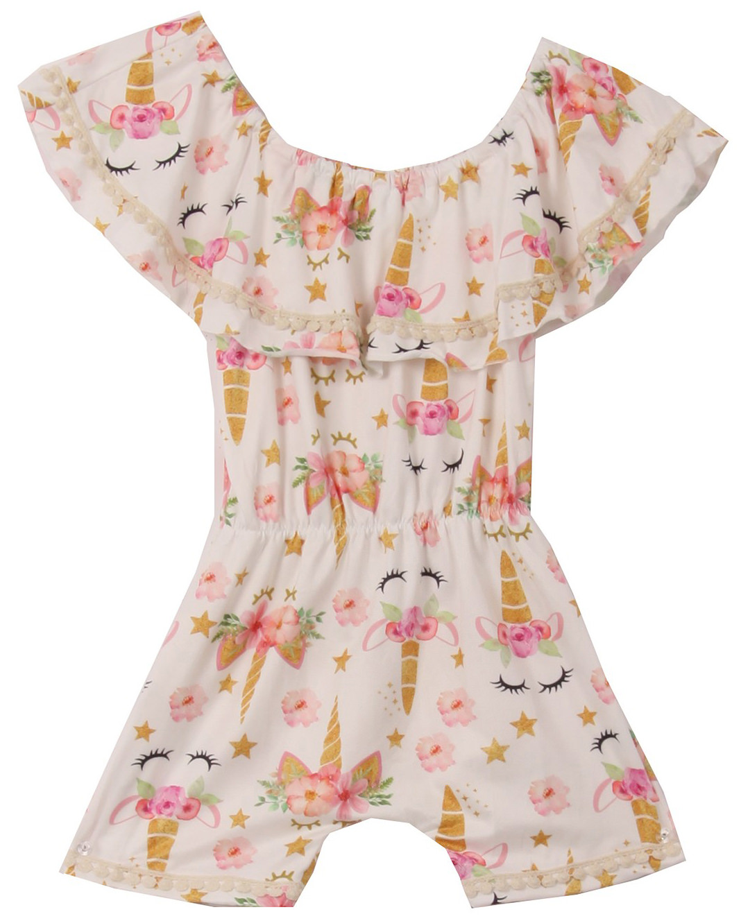 Toddler Girls Floral Unicorn Off Shoulder Birthday Party Romper Clothing Gold 2T XS (R301-04)