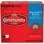Community Coffee Breakfast Blend Medium Roast Coffee K-Cup Pods, .38 oz, 18 count