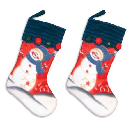 Christmas Soft Stocking (Snowman Christmas Stocking With Blue Cuff - Soft Fleece Fabric and Buttons - Set of)