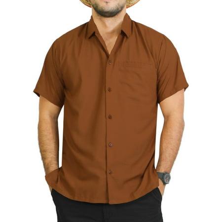 1bfe8b56 Hawaiian Shirt Mens Beach Aloha Camp Party Holiday Short Sleeve Pocket  Plain Solid Rayon B