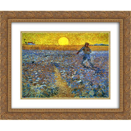 Vincent van Gogh 2x Matted 24x20 Gold Ornate Framed Art Print 'The Sower (Sower with Setting (The Sower With Setting Sun Van Gogh)
