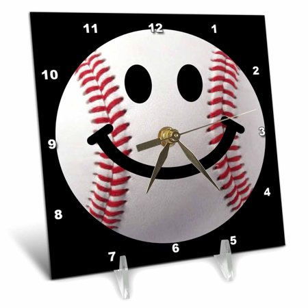3dRose Baseball Smiley Face - Sporty Sports fan smilie red and white ball on dark black background - Desk Clock, 6 by 6-inch