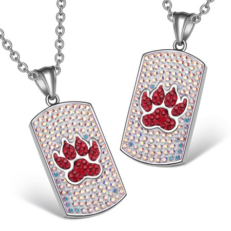 Wolf Paw Austrian Crystal Love Couples or Best Friends Dog Tag Cherry Red Rainbow White Charm Necklaces Crystal Dog Tag Necklace