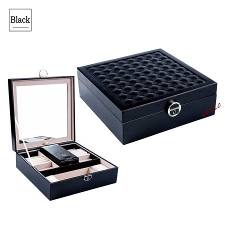 Lily Treacy Wood Jewelry Make up Organizer Case Box 2-tray Extra Travel case Black/White Deluxe PU Leather Finish Multi function Lockable with Mirror (Black)