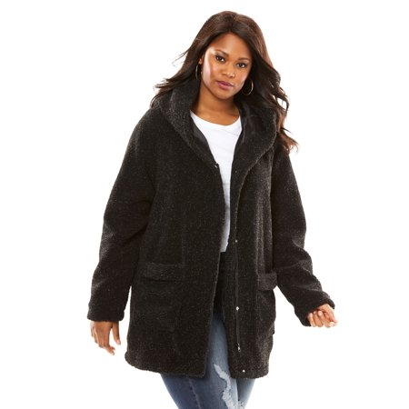 ec239d63b8 Roaman s - Roaman s Plus Size Hooded Textured Fleece Coat - Walmart.com