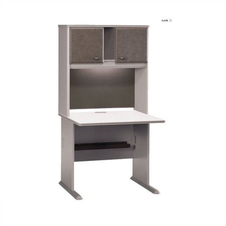 """Bush Business Series A 36"""" Computer Desk with Hutch in Pewter"""