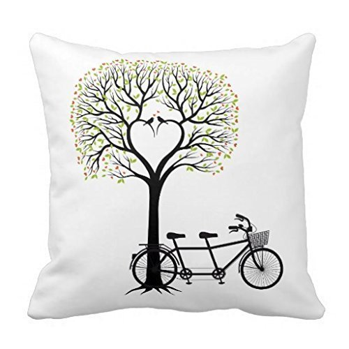 DEYOU Tandem bike under the tree Pillowcase Pillow Case Cover Two Sides Printing Size 18x18 inch