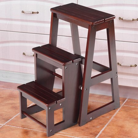 Costway Wood Step Stool Folding 3 Tier Ladder Chair Bench Seat Utility - image 10 of 10