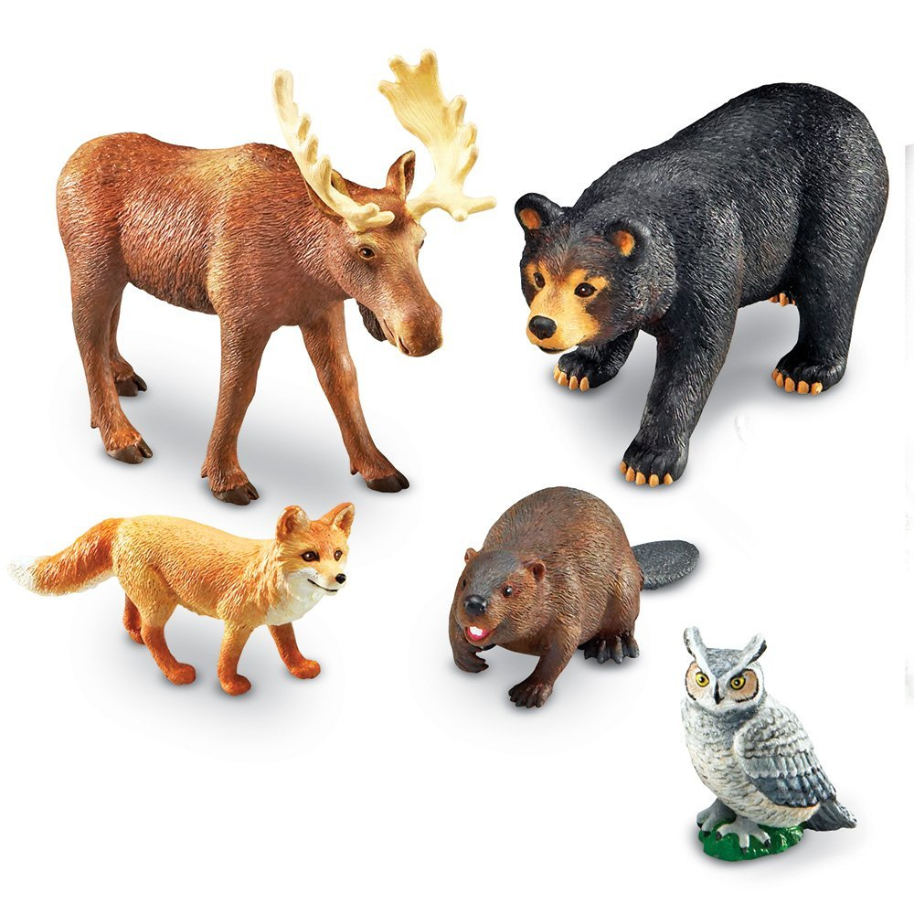 Learning Resources Jumbo Forest Animals I Bear, Moose, Beaver, Owl, and Fox, 5 Pieces, Ages 3+ by Learning Resources