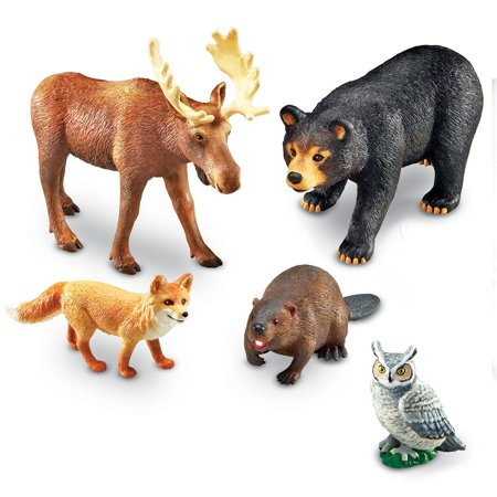 Forest Animal Toy (Learning Resources Jumbo Forest Animals I Bear, Moose, Beaver, Owl, and Fox, 5 Pieces, Ages 3+)