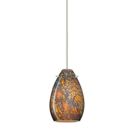 Besa Lighting 1XT-1713CE Pera 1-Light Halogen Cord-Hung Mini Pendant with Ceylon Glass Shade 1 Light Cord Pendant
