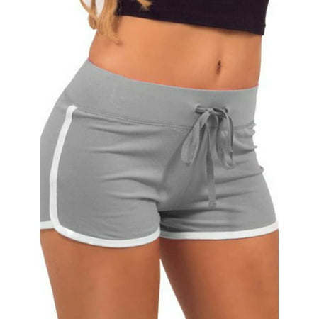 Babula Women High Waist Drawstring Gym Shorts Sports Yoga Pants ()