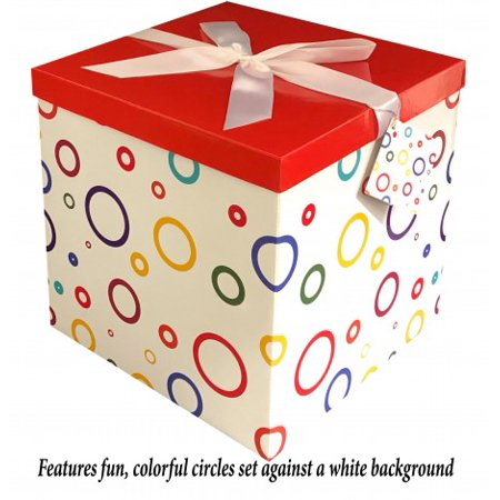 Gift Box 12x12x12 Garnier Pop up in Seconds comes with Decorative Ribbon mounted on the lid A Gift Tag and Tissue Paper - No Glue or Tape - Large Gift Boxes With Lids