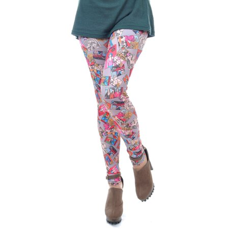 Womens Multicolored Art Cartoon Comic Book Print Tights Leggings