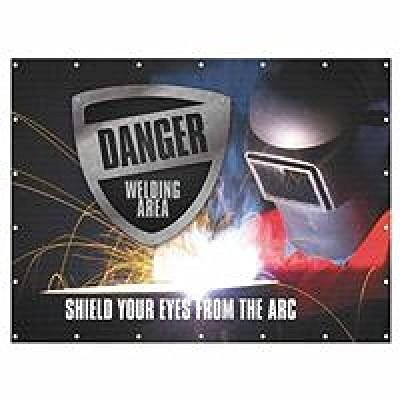 Accuform SIGNS PWD102RD ONE-WAY WELDING SCREEN SHIELD  6X...