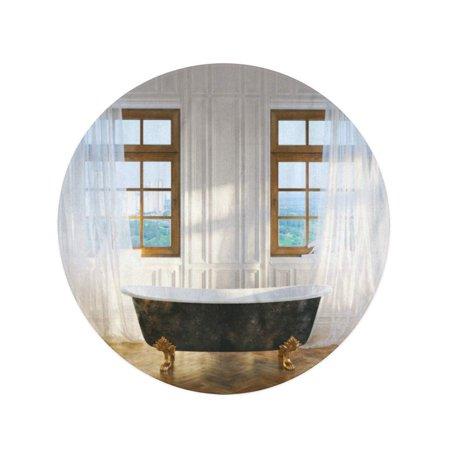NUDECOR 60 inch Round Beach Towel Blanket Big Bathroom Vintage Iron Bathtub in Center and Windows Travel Circle Circular Towels Mat Tapestry Beach Throw - image 1 of 2