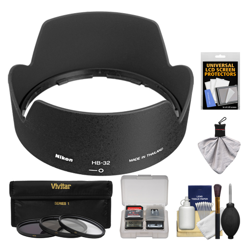 Nikon HB-32 Bayonet Lens Hood for Nikon 18-135mm, 18-105mm, 18-140mm VR DX Zoom-Nikkor + 3 (UV/ND8/CPL) Filter Set + Accessory Kit (with D3100, D320, D5100, D5200, D7000 & D7100 Digital SLR Camera)