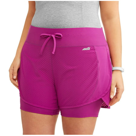 8c645a028db Women s Plus Size Active Perforated Running Short with Built in Compression  Shorts