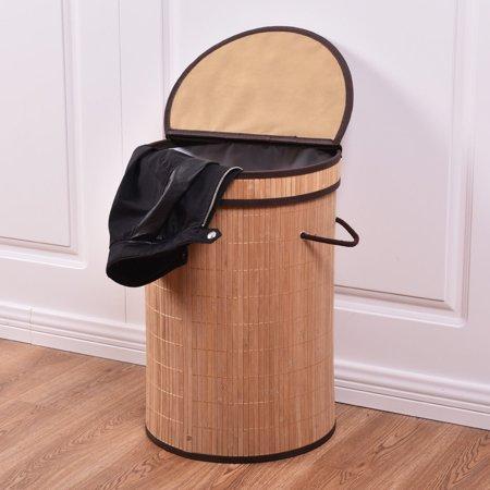 costway round bamboo hamper laundry basket washing cloth storage bin bag w folding lid. Black Bedroom Furniture Sets. Home Design Ideas