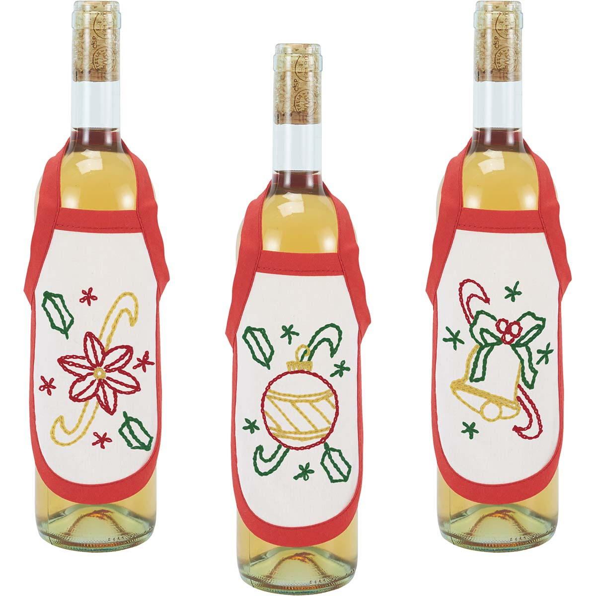 Herrschners® Retro Christmas Bottle Aprons Stamped Embroidery