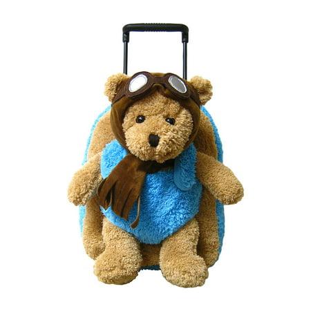 Aviator Bear - Kid's Luggage Children's Aviator Pilot Bear Plush Roller Backpack