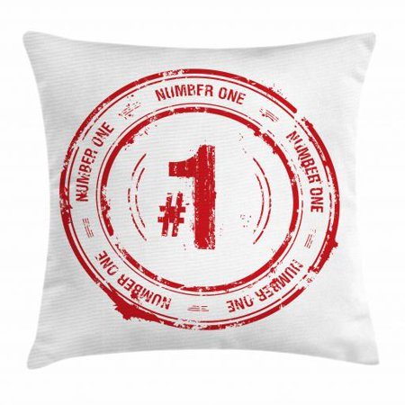 Number Throw Pillow Cushion Cover, Number One Old Fashioned Grunge Stamp at Top Best Leader Emblem Design, Decorative Square Accent Pillow Case, 16 X 16 Inches, Vermilion and White, by
