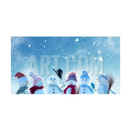Merry Christmas and Happy New Year Greeting Card with Copy-Space.Many Snowmen Standing in Winter Ch Print Wall Art By (Merry Christmas And Happy New Year In Danish)