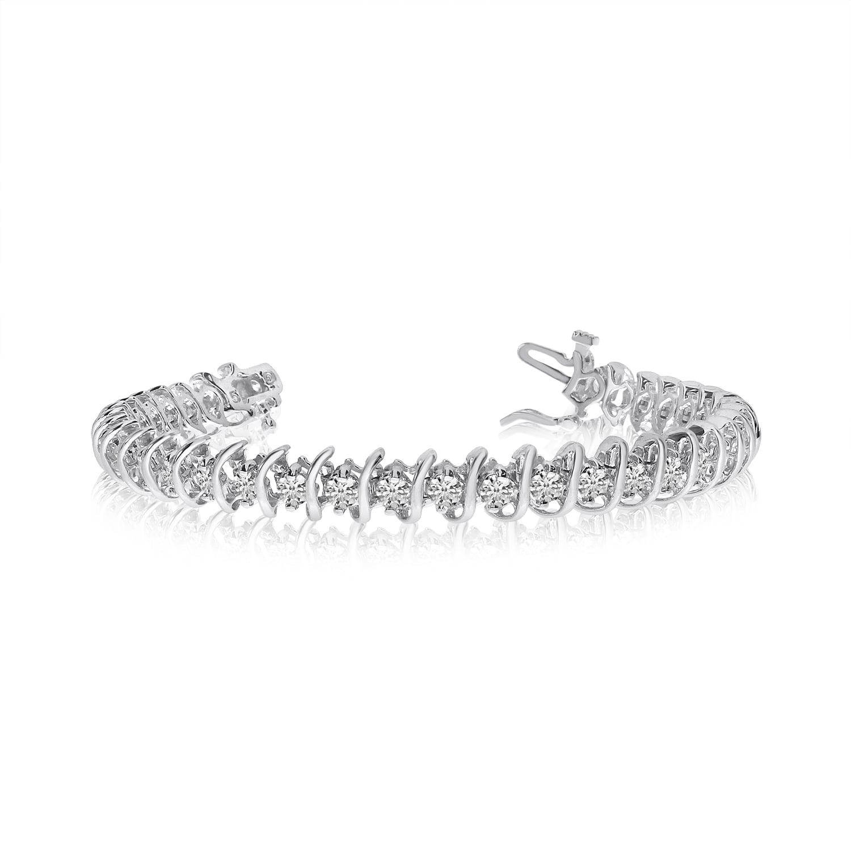 14K White Gold Rollover S Illusion Diamond Bracelet by
