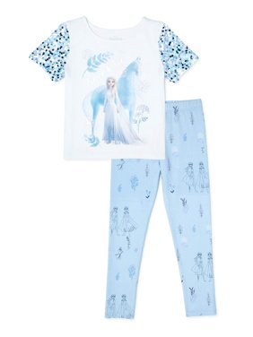 Frozen Girls Exclusive Sequin Sleeve Top and Graphic Leggings, 2-Piece Outfit Set, Sizes 4-16
