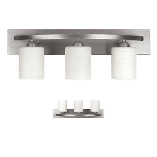 3 Light Vanity Bath Light Bathroom Fixture, Brushed Nickel