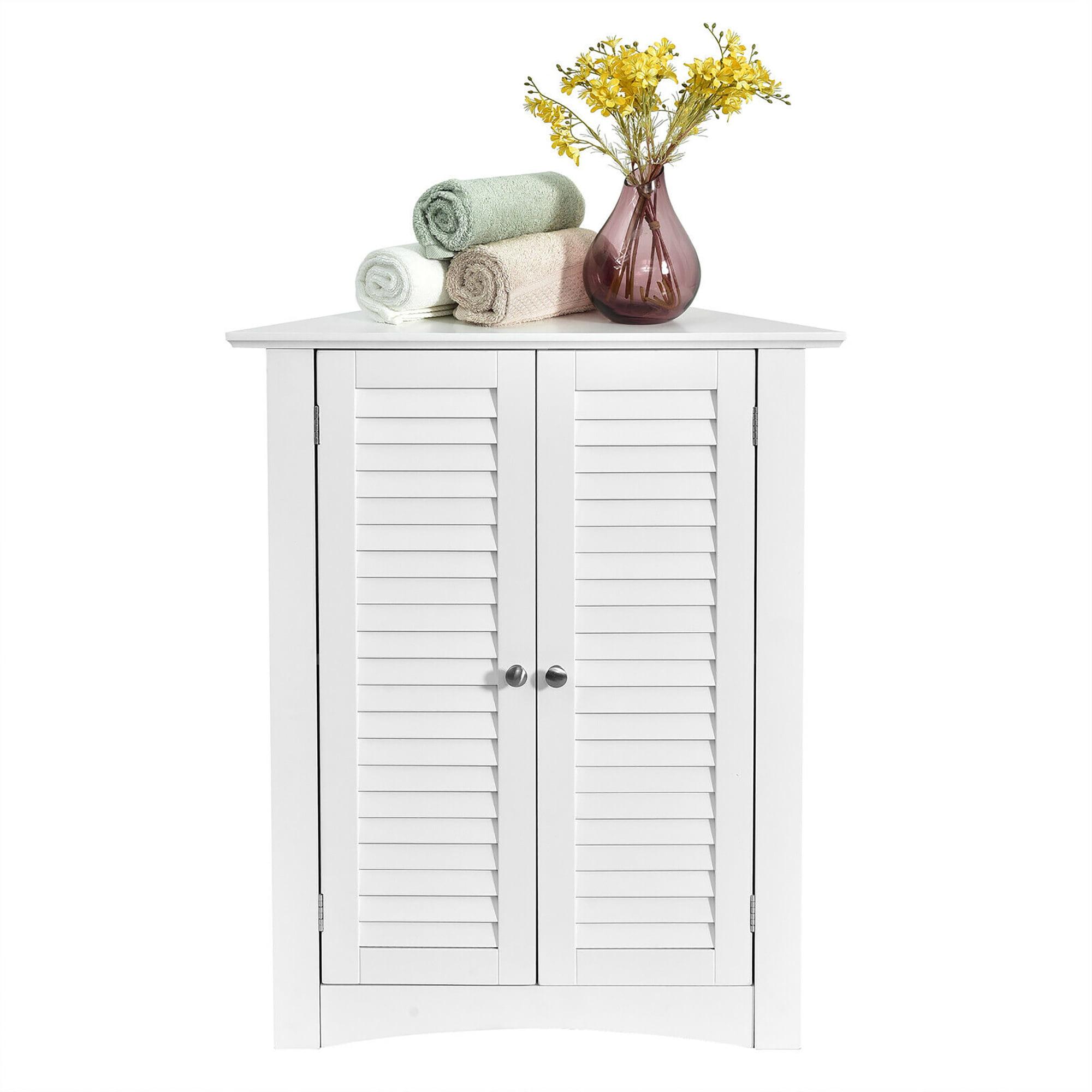 Costway Corner Storage Cabinet Freestanding Floor Cabinet Bathroom W Shutter Door White Walmart Com Walmart Com