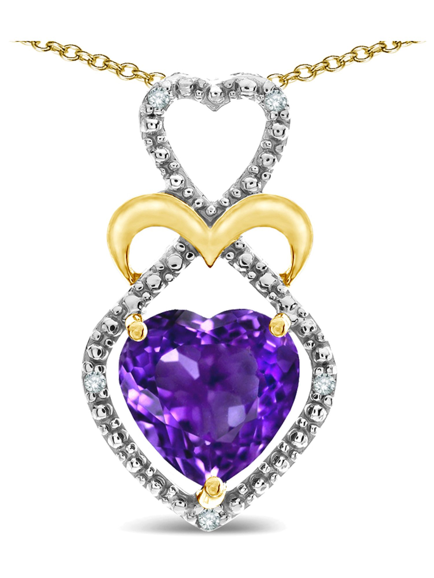 Star K Heart Shape 8mm Genuine Amethyst Heart Halo Embrace Pendant Necklace 14k Yellow Gold with Rhodium Finish