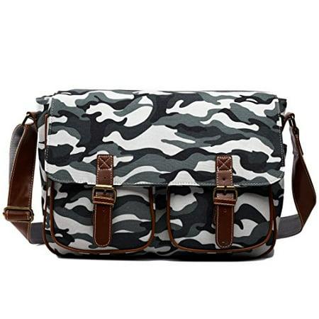 Miss Lulu Canvas Prints Large Satchel Messenger Shoulder Bag (Camouflage Grey) Camouflage Canvas Shoulder Bag